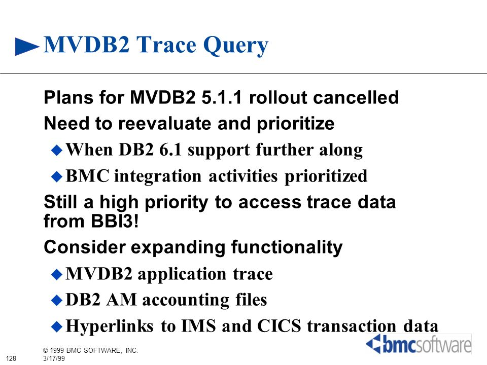 MVDB2 Trace Query Plans for MVDB rollout cancelled