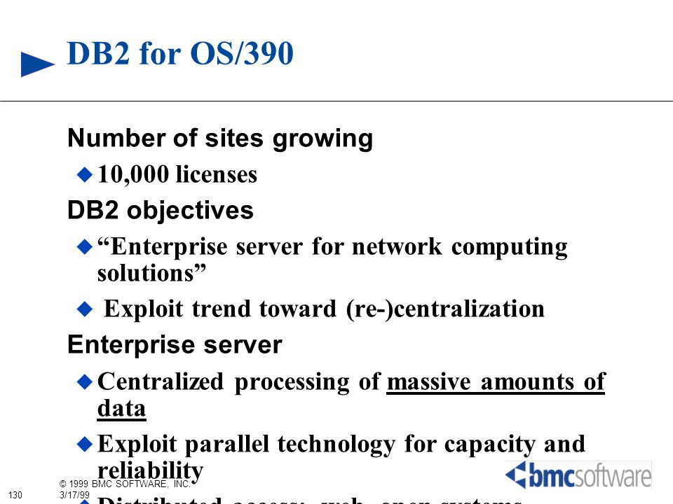 DB2 for OS/390 Number of sites growing 10,000 licenses DB2 objectives