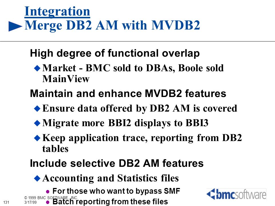 Integration Merge DB2 AM with MVDB2