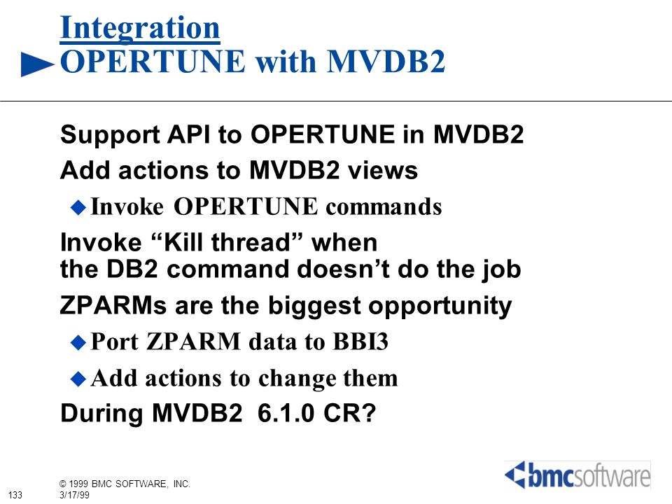 Integration OPERTUNE with MVDB2