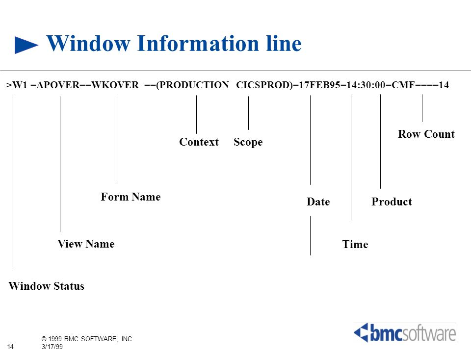 Window Information line