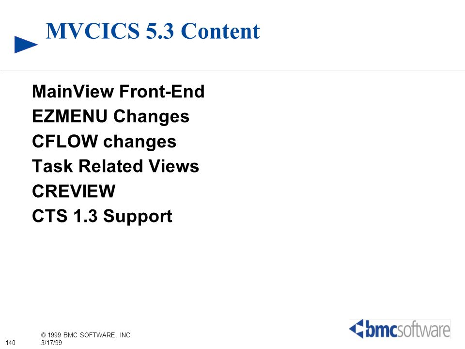 MVCICS 5.3 Content MainView Front-End EZMENU Changes CFLOW changes