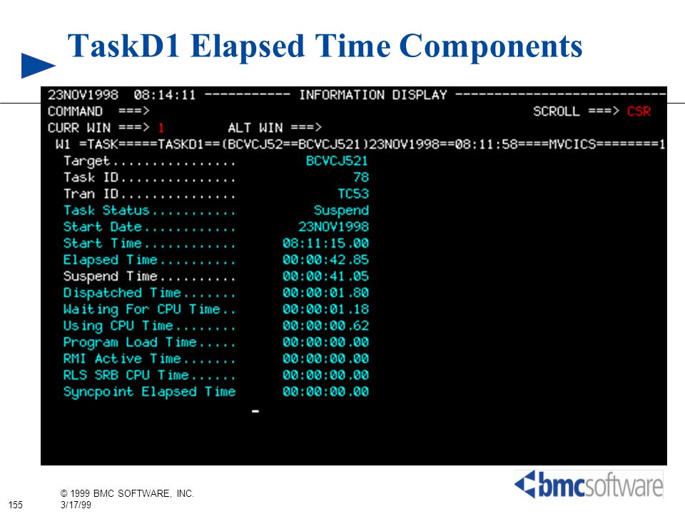 TaskD1 Elapsed Time Components