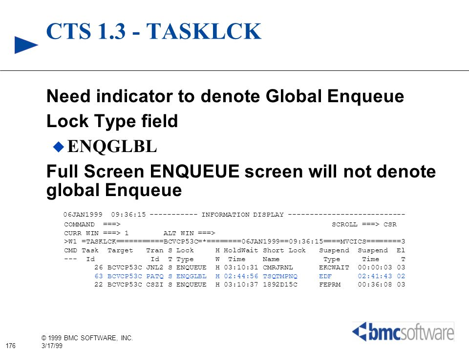 CTS 1.3 - TASKLCK Need indicator to denote Global Enqueue