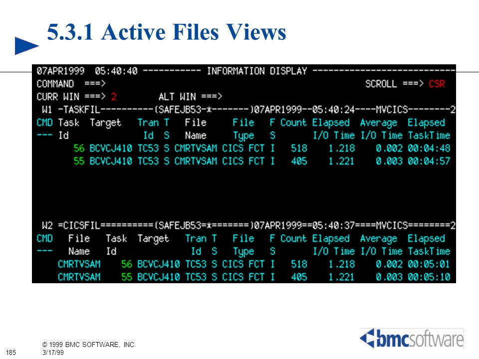 5.3.1 Active Files Views