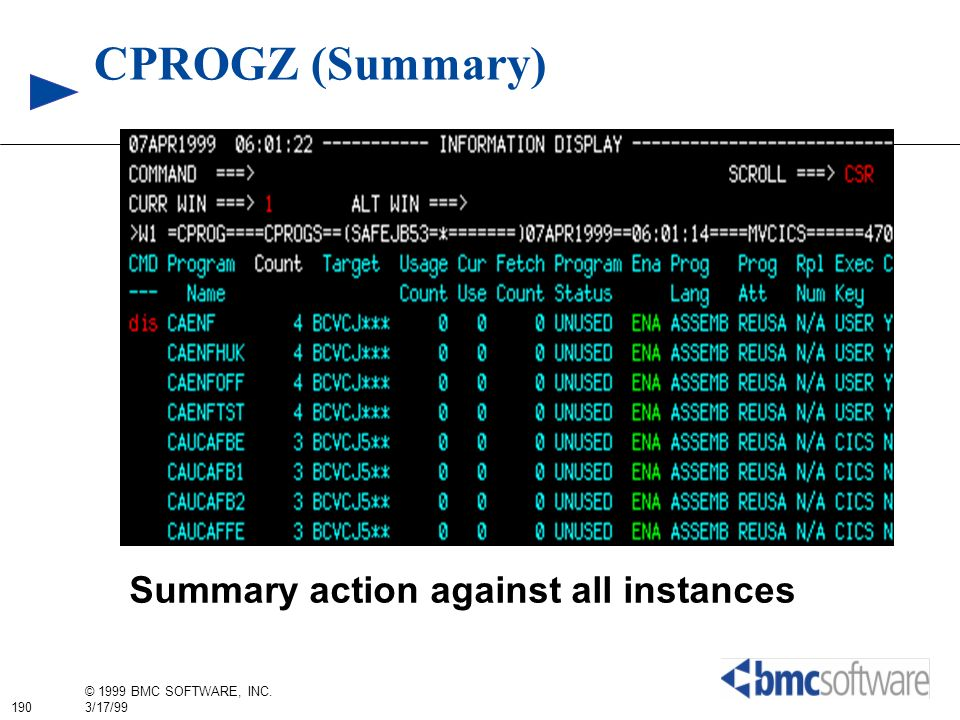 CPROGZ (Summary) Summary action against all instances