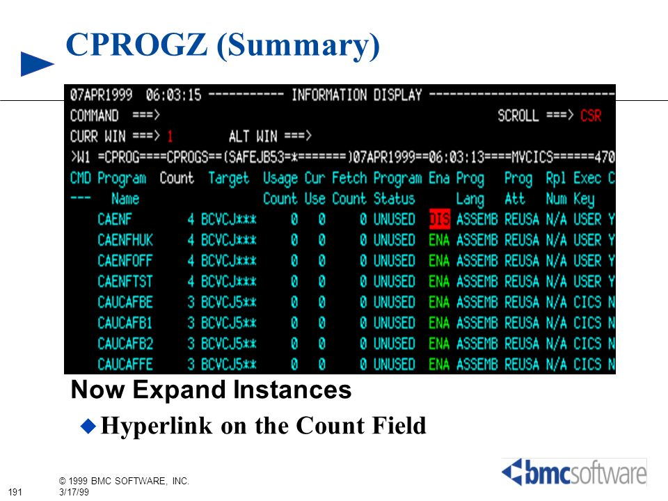 CPROGZ (Summary) Now Expand Instances Hyperlink on the Count Field