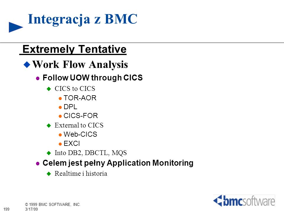 Integracja z BMC Extremely Tentative Work Flow Analysis