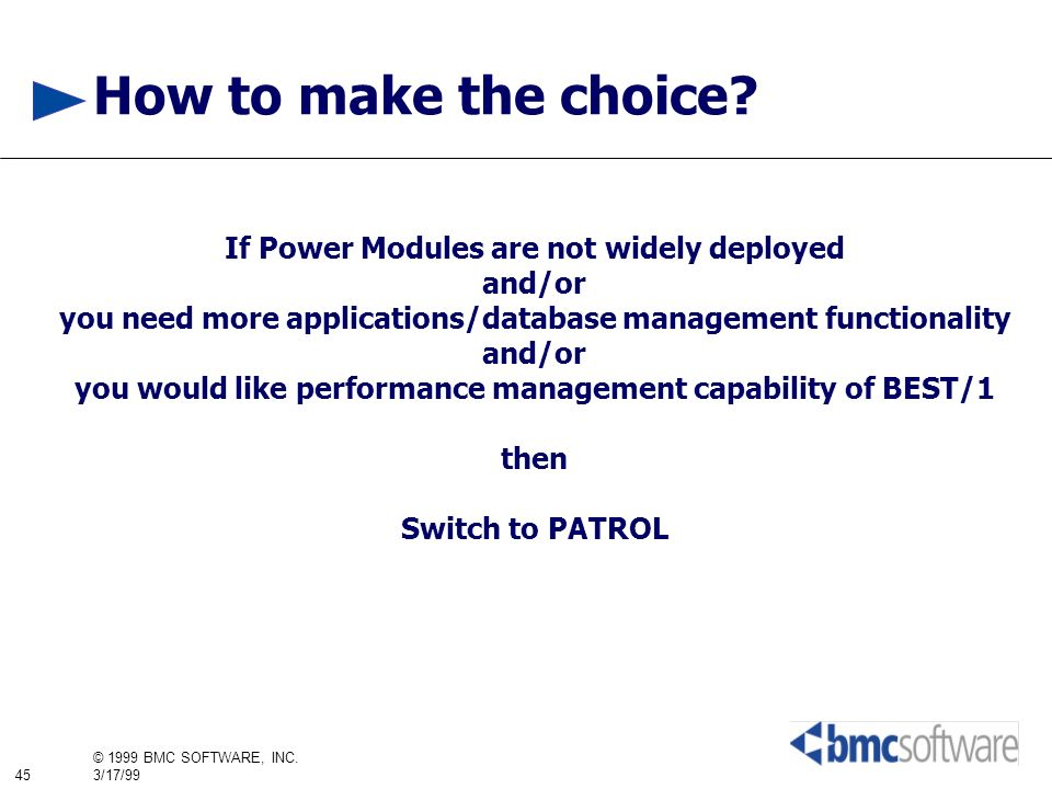 How to make the choice If Power Modules are not widely deployed