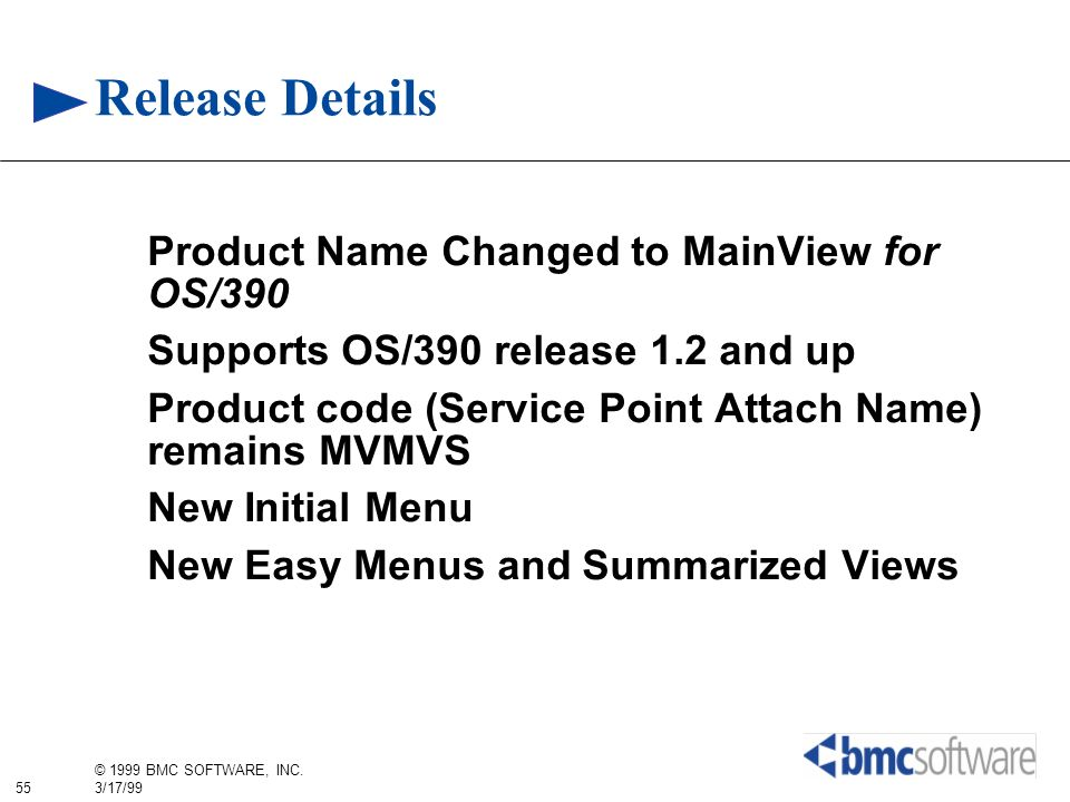 Release Details Product Name Changed to MainView for OS/390