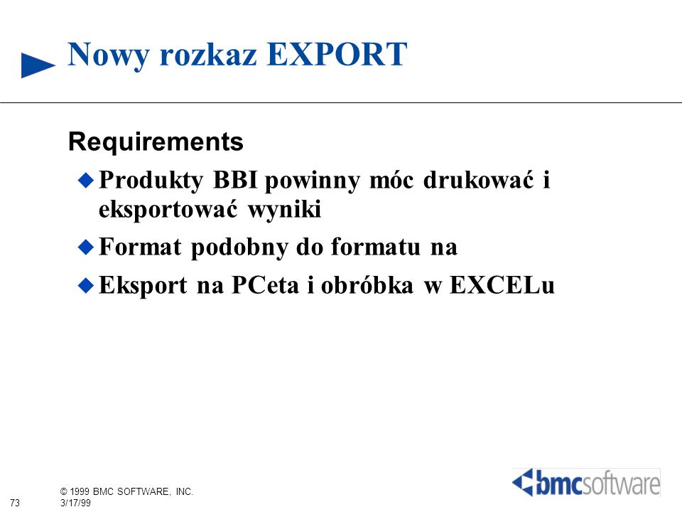 Nowy rozkaz EXPORT Requirements