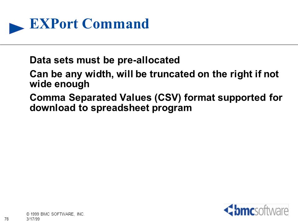 EXPort Command Data sets must be pre-allocated