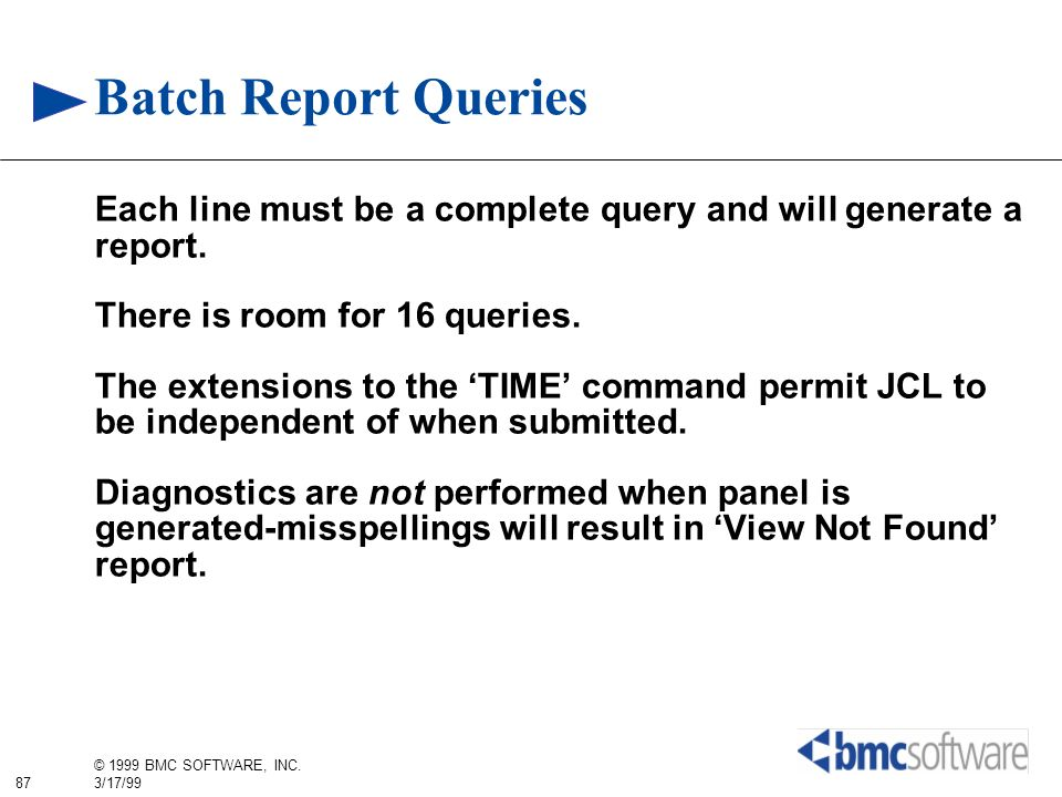 Batch Report Queries Each line must be a complete query and will generate a report. There is room for 16 queries.