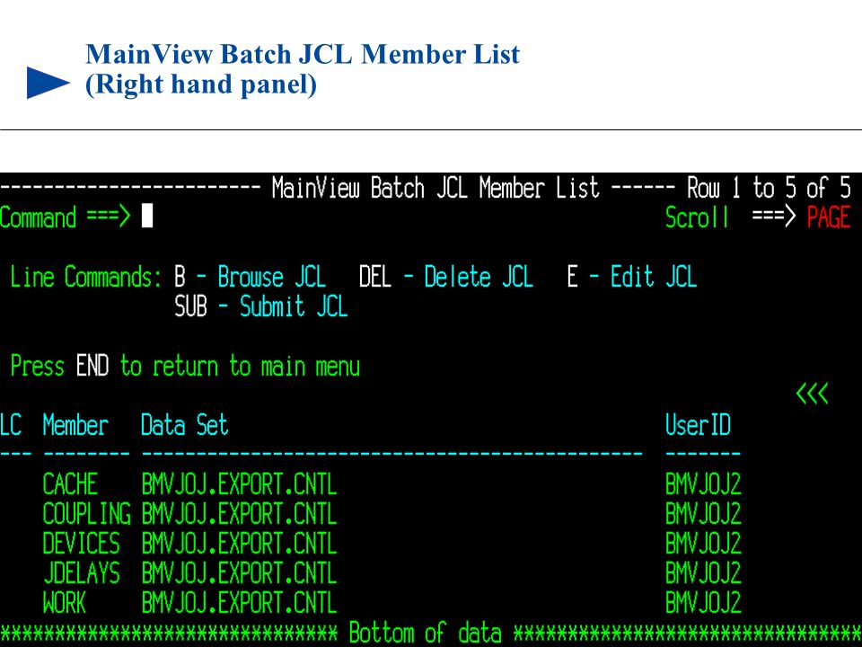 MainView Batch JCL Member List (Right hand panel)