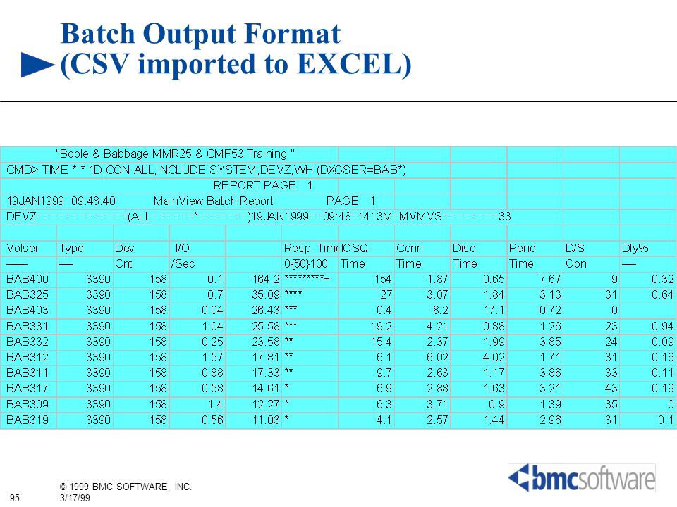 Batch Output Format (CSV imported to EXCEL)