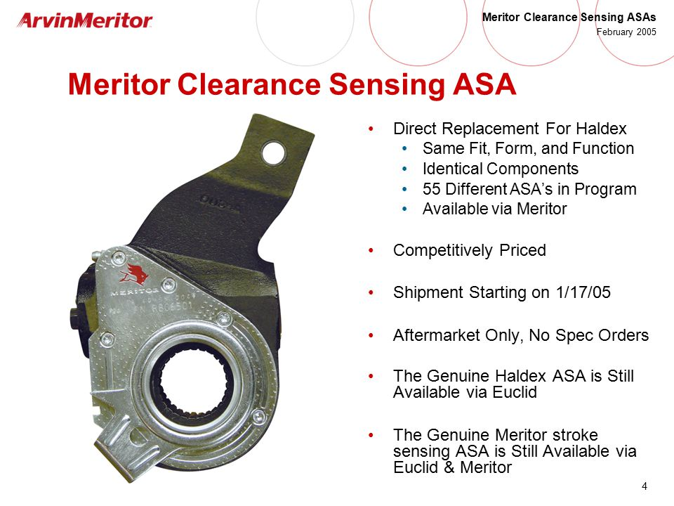 Meritor Clearance Sensing Automatic Slack Adjusters - ppt