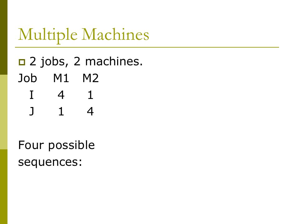 Multiple Machines 2 jobs, 2 machines. Job M1 M2 I 4 1 J 1 4