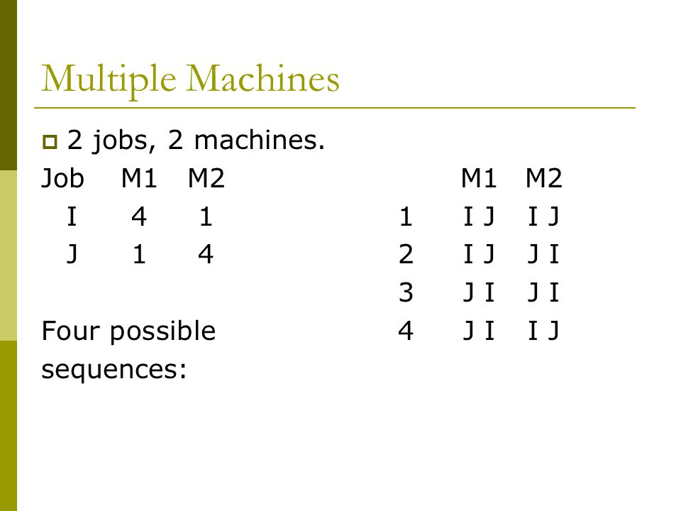 Multiple Machines 2 jobs, 2 machines. Job M1 M2 M1 M2 I I J I J