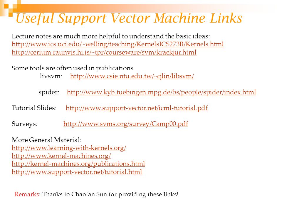 Useful Support Vector Machine Links