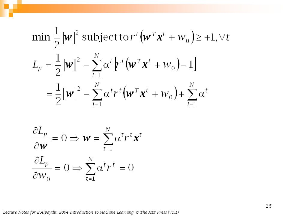 Lecture Notes for E Alpaydın 2004 Introduction to Machine Learning © The MIT Press (V1.1)