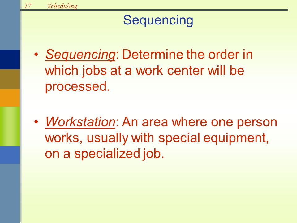 Sequencing Sequencing: Determine the order in which jobs at a work center will be processed.