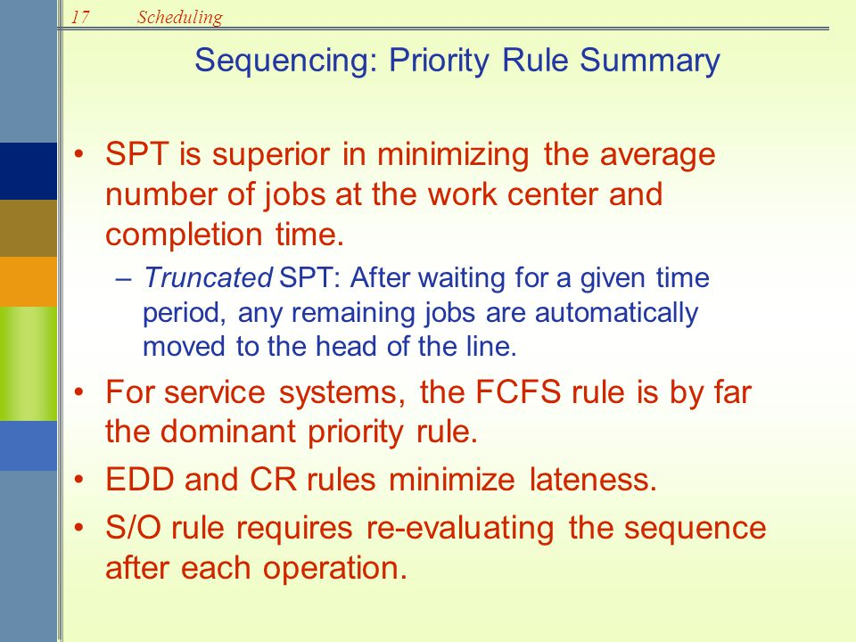 Sequencing: Priority Rule Summary