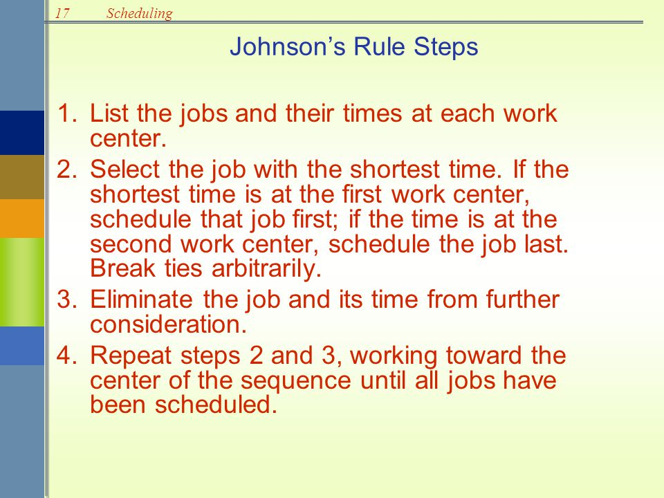 List the jobs and their times at each work center.