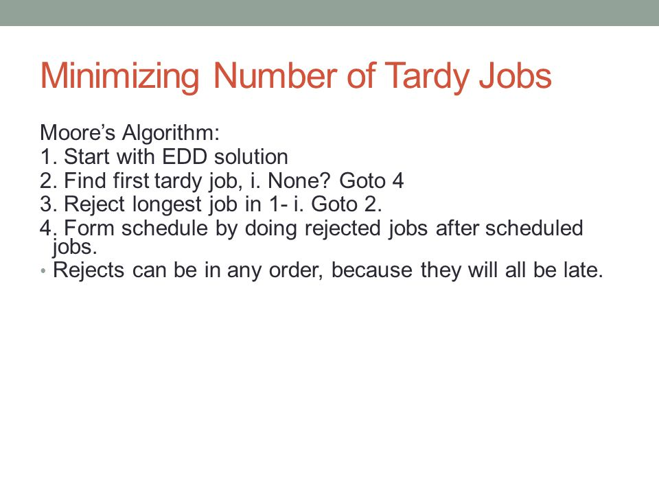 Minimizing Number of Tardy Jobs