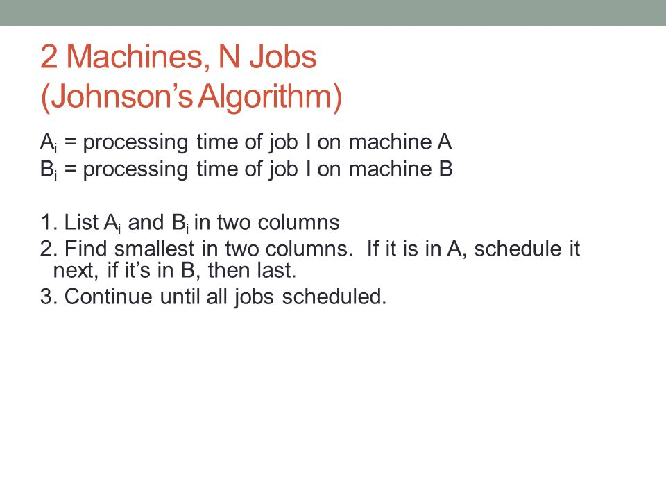 2 Machines, N Jobs (Johnson's Algorithm)