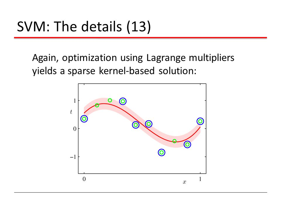 SVM: The details (13) Again, optimization using Lagrange multipliers yields a sparse kernel-based solution: