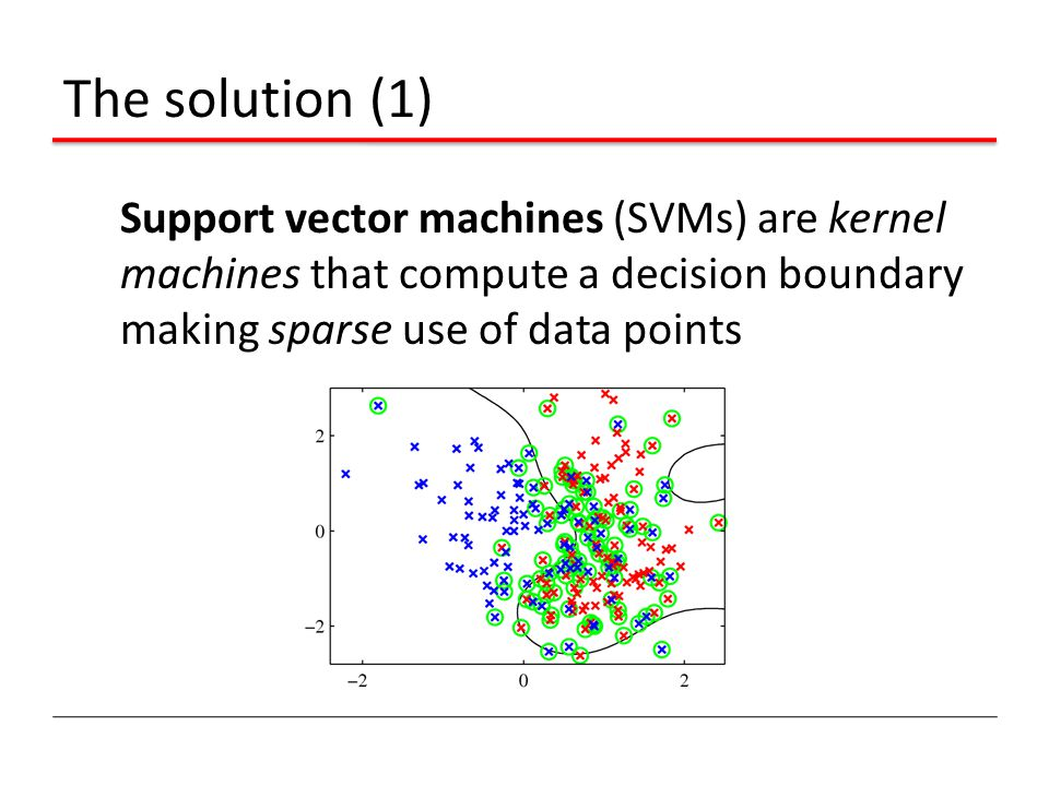The solution (1) Support vector machines (SVMs) are kernel machines that compute a decision boundary making sparse use of data points.