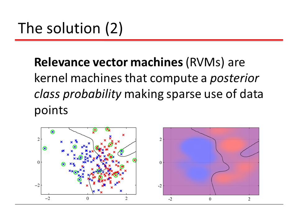 The solution (2) Relevance vector machines (RVMs) are kernel machines that compute a posterior class probability making sparse use of data points.