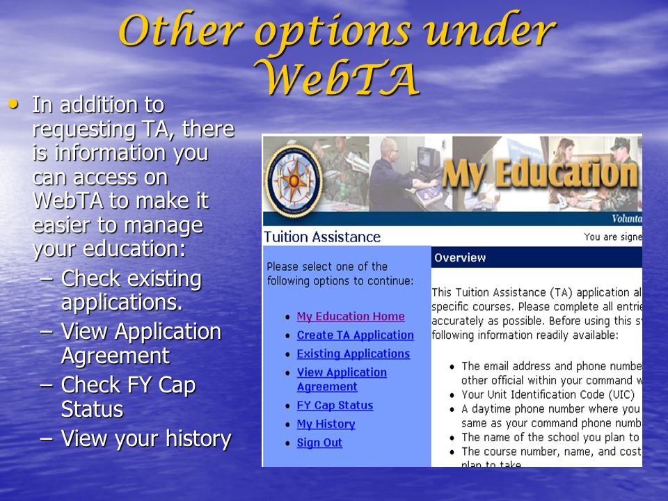Welcome To The Web Tuition Assistance Webta Briefing Ppt Video
