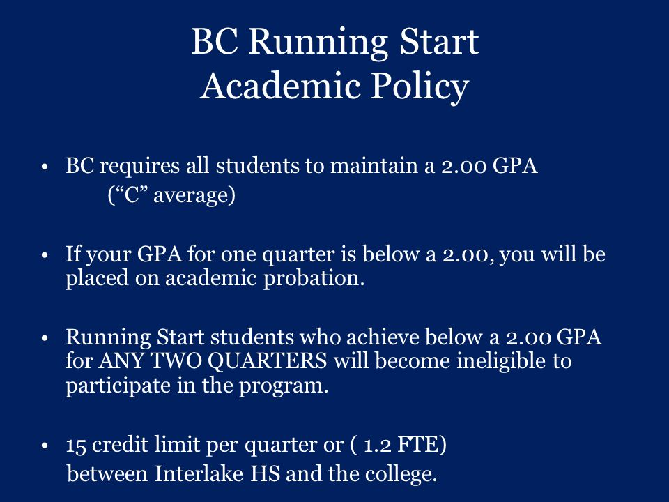 BC Running Start Academic Policy