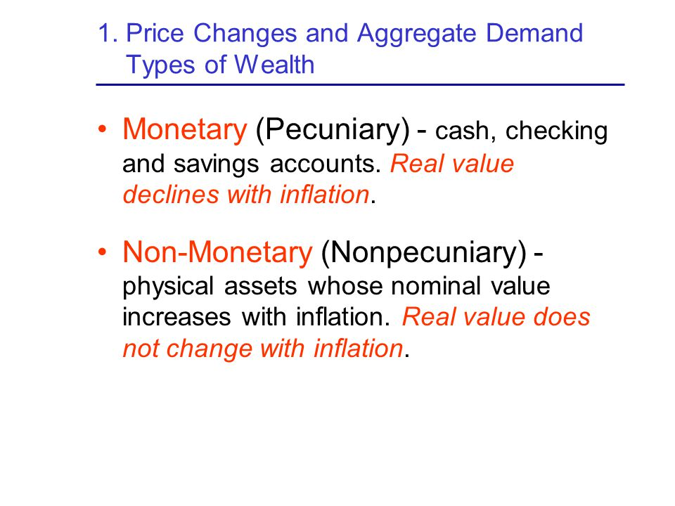 1. Price Changes and Aggregate Demand Types of Wealth