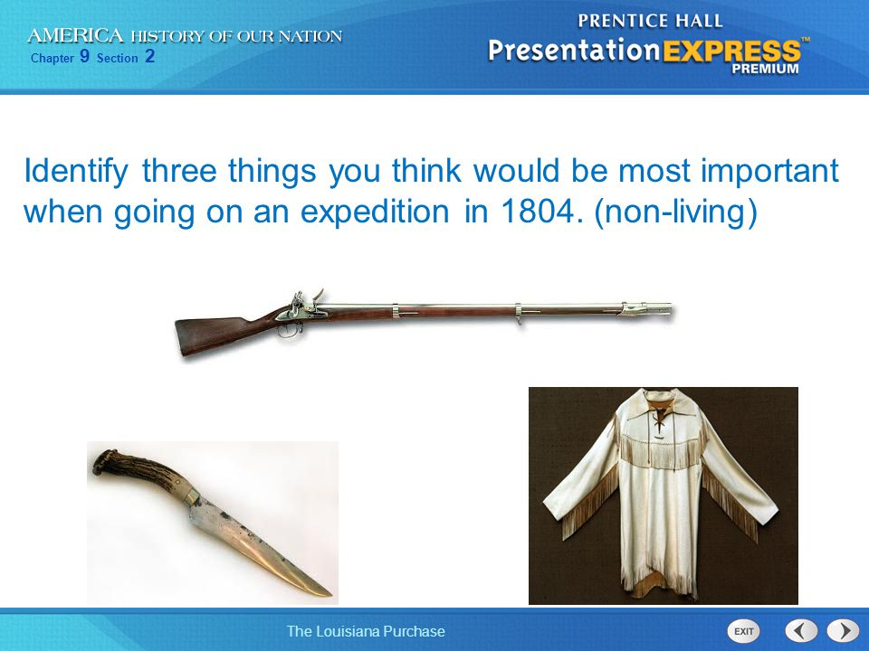 Identify three things you think would be most important when going on an expedition in 1804.