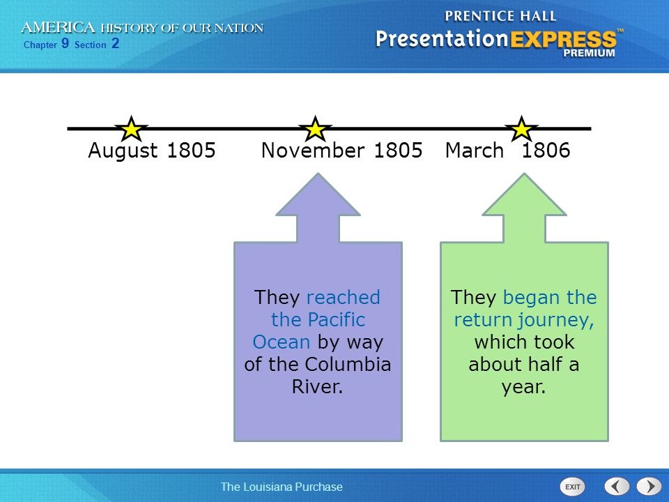 August 1805 November March They reached the Pacific Ocean by way of the Columbia River.