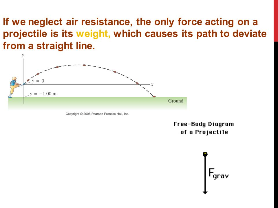 If we neglect air resistance, the only force acting on a projectile is its weight, which causes its path to deviate from a straight line.