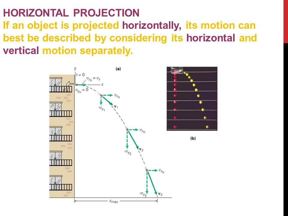 HORIZONTAL PROJECTION If an object is projected horizontally, its motion can best be described by considering its horizontal and vertical motion separately.