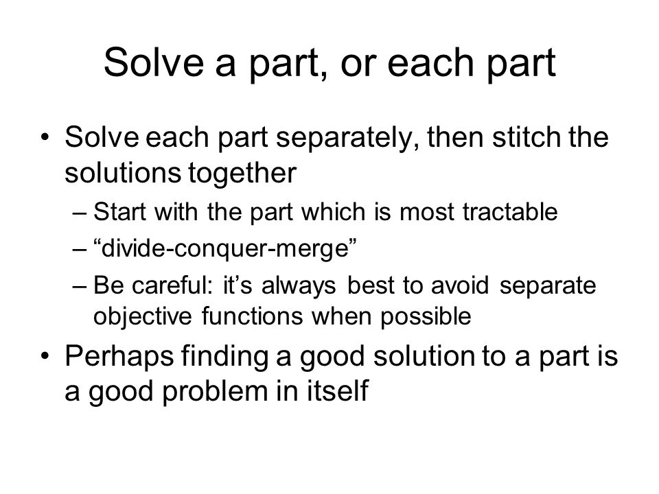 Solve a part, or each part