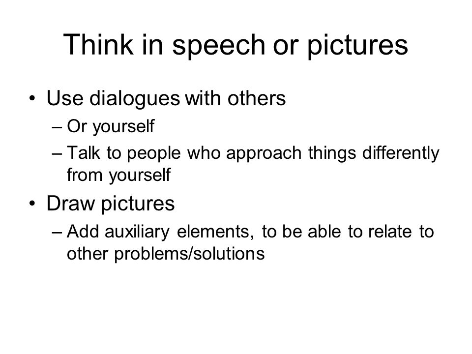 Think in speech or pictures