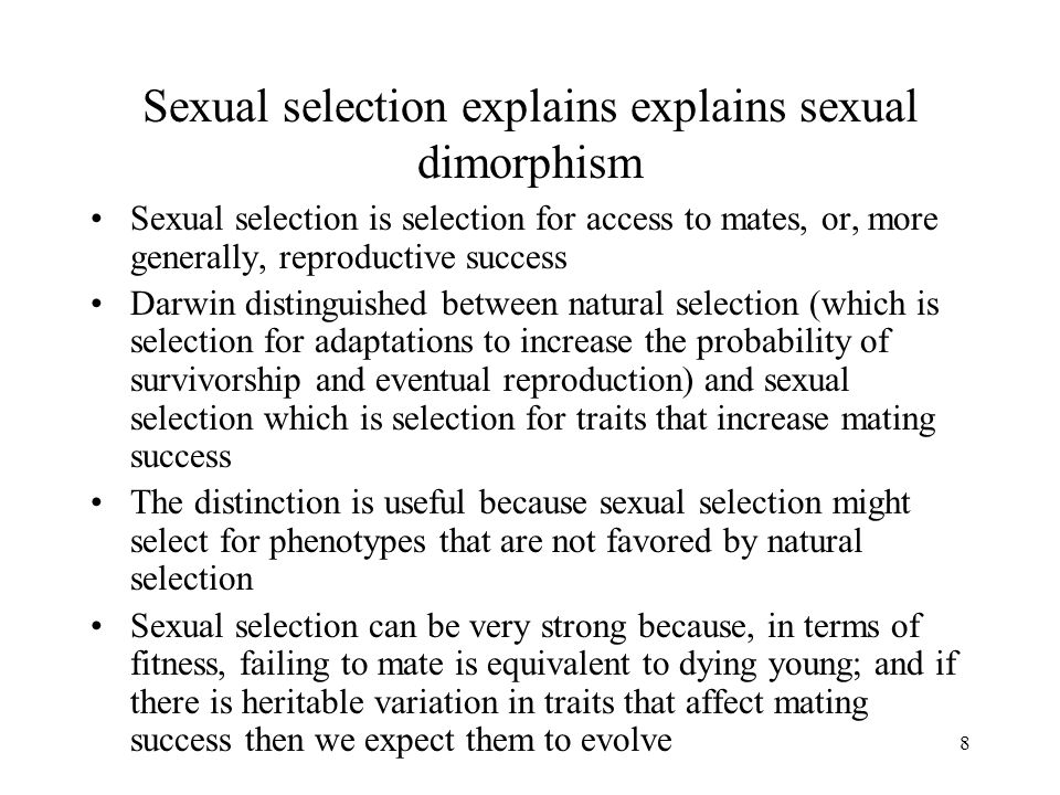 Difference between sexual selection and sexual dimorphism