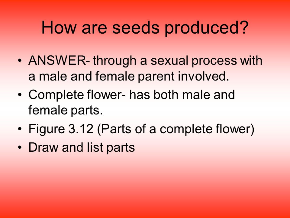 How are seeds produced ANSWER- through a sexual process with a male and female parent involved. Complete flower- has both male and female parts.