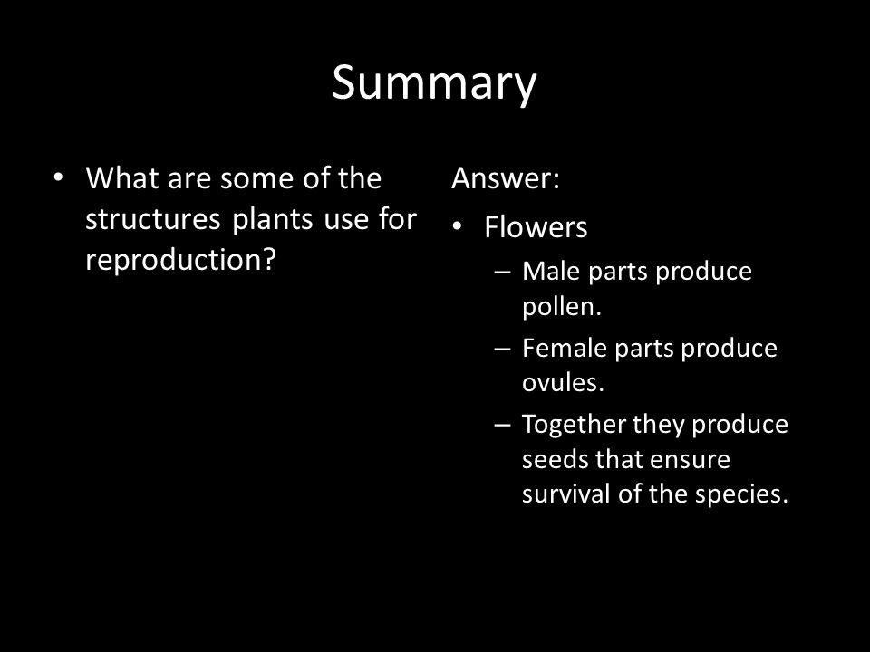 Summary What are some of the structures plants use for reproduction
