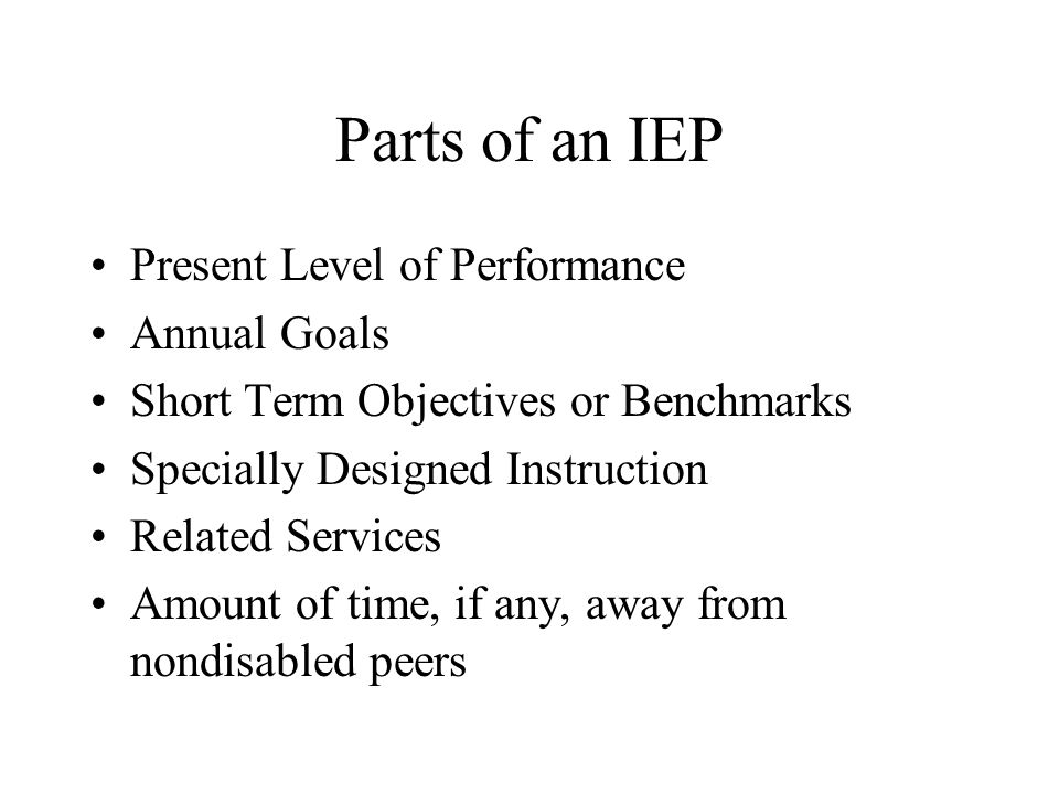 Parts of an IEP Present Level of Performance Annual Goals