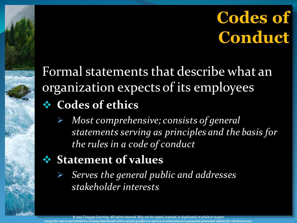 Codes of Conduct. Formal statements that describe what an organization expects of its employees. Codes of ethics.