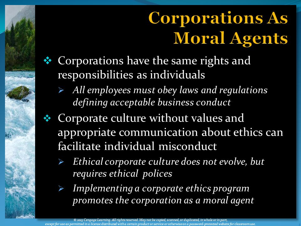 Corporations As Moral Agents