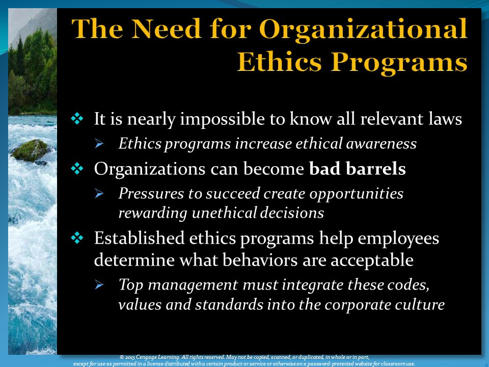 The Need for Organizational Ethics Programs