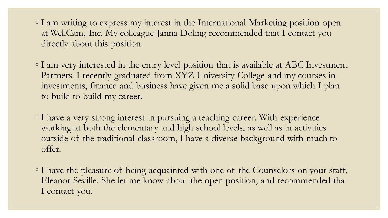 interest in this position