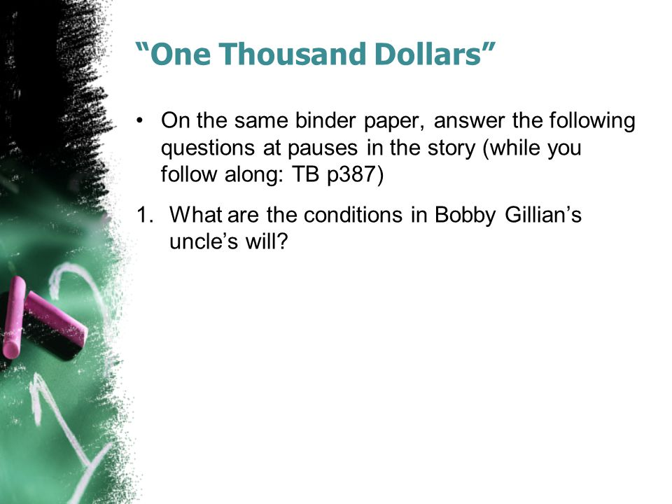 one thousand dollars full story